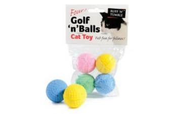 Sharples Ruff �'N�' Tumble Golf �'N�' Balls Assorted Cat Toy 4 Pack - ASRTD (May Vary)