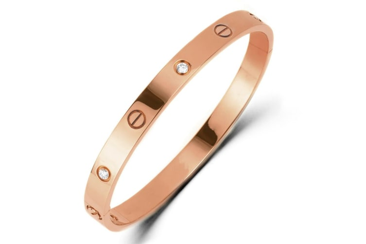 Blanche Bangle-Rose Gold/Clear
