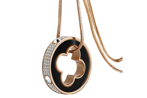 Clover Ring Charm Long Necklace w/Swarovski Crystals-Rose Gold/Clear