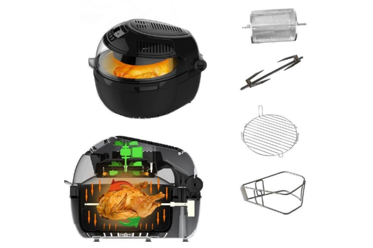 Large 10L Turbo Digital Airfryer/IR/Food Rotation Low Fat Healthy Cooking 1300W