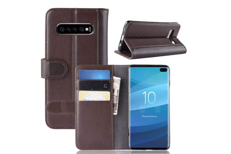 For Samsung Galaxy S10 PLUS Case Brown Genuine Leather Wallet Cover