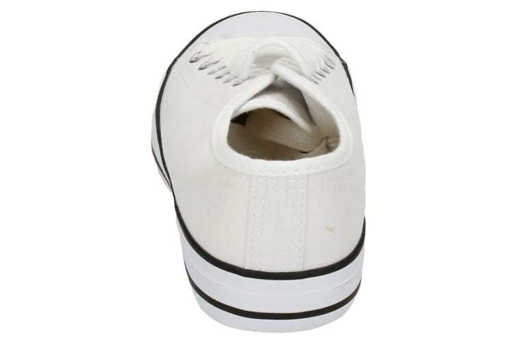 Spot On Womens/Ladies Low Cut Canvas Lace Up Shoes (White) (6 UK)