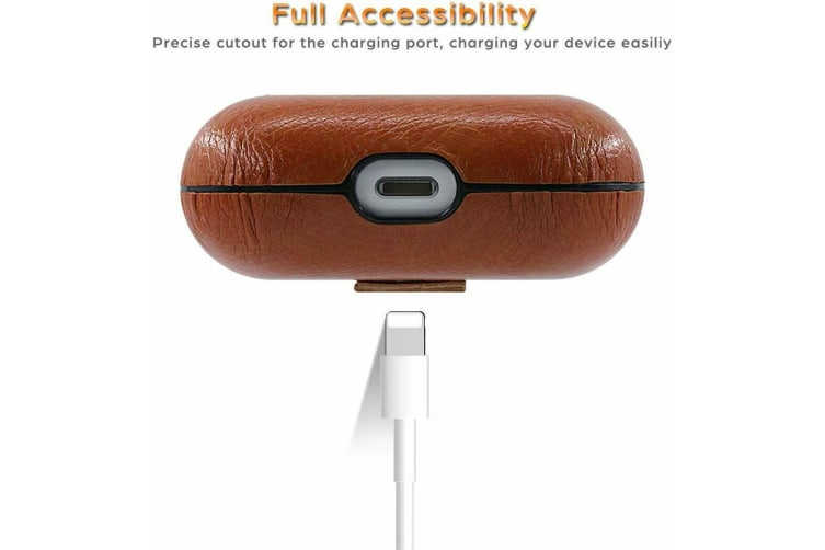 For Apple AirPods Pro Case Cover Leather Hang Keychain Skin Holder AirPod 3 Case-DarkBrown