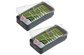 2x Marbig 400 Metal Business Card File Organiser/Holder Box A-Z Filing System GY