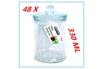 48 x Glass Apothecary Candy Jar with Lid 330ml Candy Candle Waxing Storage Container
