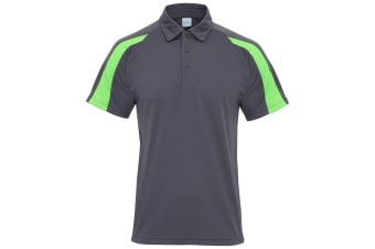 AWDis Just Cool Mens Short Sleeve Contrast Panel Polo Shirt (Charcoal/Lime Green) (L)