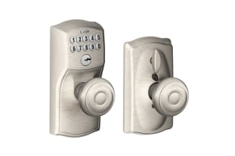 Schlage Keypad Lever with Camelot Trim and Georgian Knob with Flex Lock