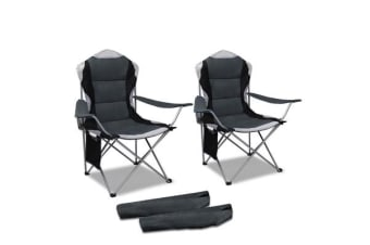 Set of 2 High Back Folding Camping Arm Chair (Grey)