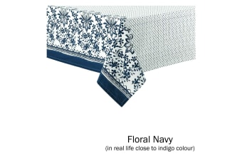 Watercolour Floral Tablecloth 8 to 10 Seater Oblong 150 x 265 cm Navy (Close to Indigo Blue)