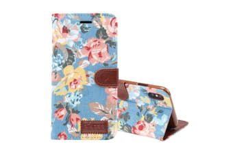 For iPhone XS MAX Cover Leather Wallet Case with Card Slots Stand Blue Flower