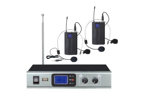 Wireless Headset Microphone Vhf Dual Channel Head Mic Tc-Ll28A