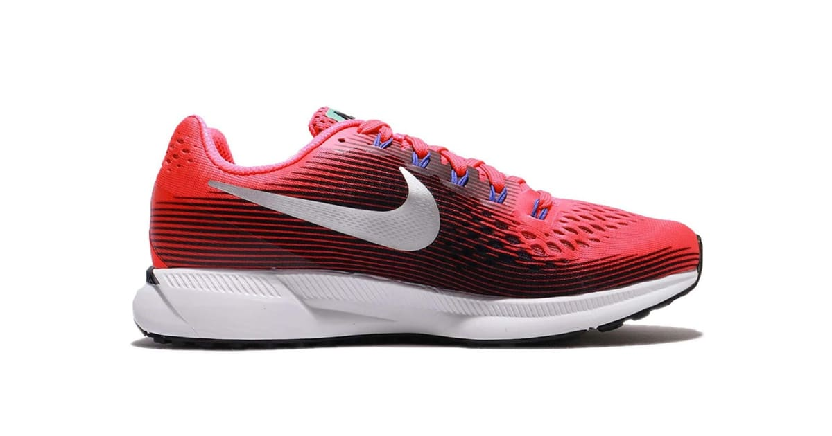 f10edc42c02f Nike Women s Air Zoom Pegasus 34 Running Shoe (Solar Red Metallic  Silver Black