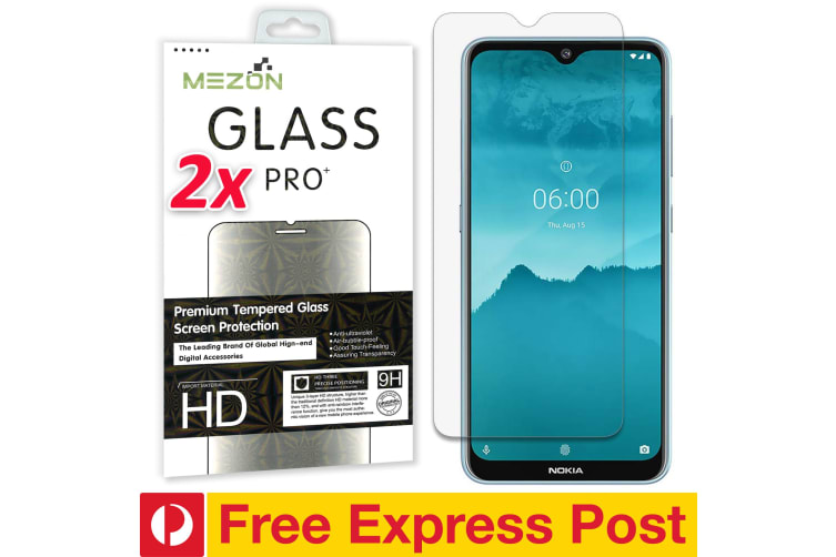 [2 Pack] Nokia 6.2 Tempered Glass Crystal Clear Premium 9H HD Screen Protector by MEZON – Case Friendly, Shock Absorption (Nokia 6.2, 9H) – FREE EXPRESS