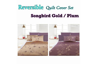 Songbird Reversible Gold Quilt Cover Set by Accessorize