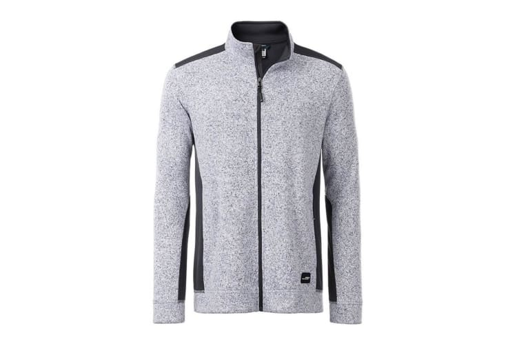 James and Nicholson Mens Knitted Workwear Fleece Jacket (White Melange/Carbon) (S)