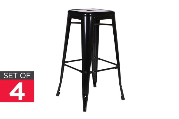 Ovela Set of 4 Tolix Replica 76cm Stools (Black)