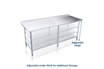 Galvanized Steel 244cm x 61cm Kitchen Workbench and Food Prep Table