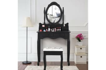 Luxury Dressing Table&Stool w/ Mirror Drawer Jewellery Cabinet Makeup Organiser[