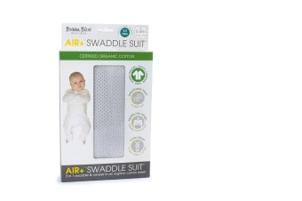 Bubba Blue Grey AIR+ 2 in 1 Swaddle Romper Swaddle suit Organic Cotton 0-3M