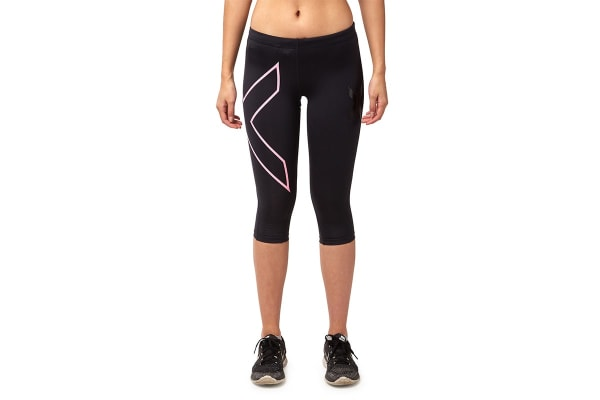 2XU Women's 3/4 Compression Tights G1 (Black/Baby Pink, Size XS)