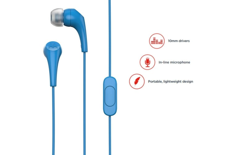 2x Motorola Earbuds 2 In-Ear Headphones/Headset w In-Line Microphone/Earbuds BL