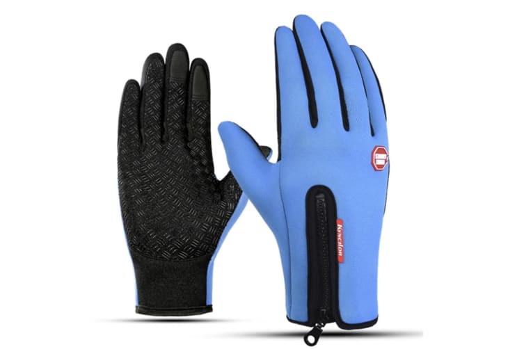Outdoor Skiing Cold-Proof Silica Gel Touch Screen Bicycle Thicker Gloves - Blue Blue M