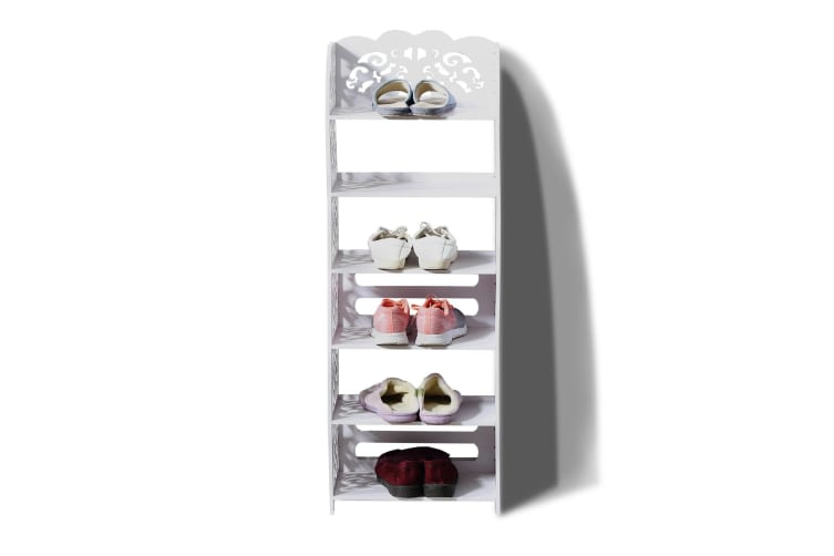 Levede 6 Tier White Chic Hollow Out Shoe Rack Shoes Storage Organizer Shelf
