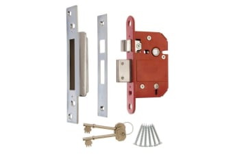 Era Fortress 5 Lever Mortice Sashlock With Satin Effect (Silver/Red/Gold) (7.6cm)