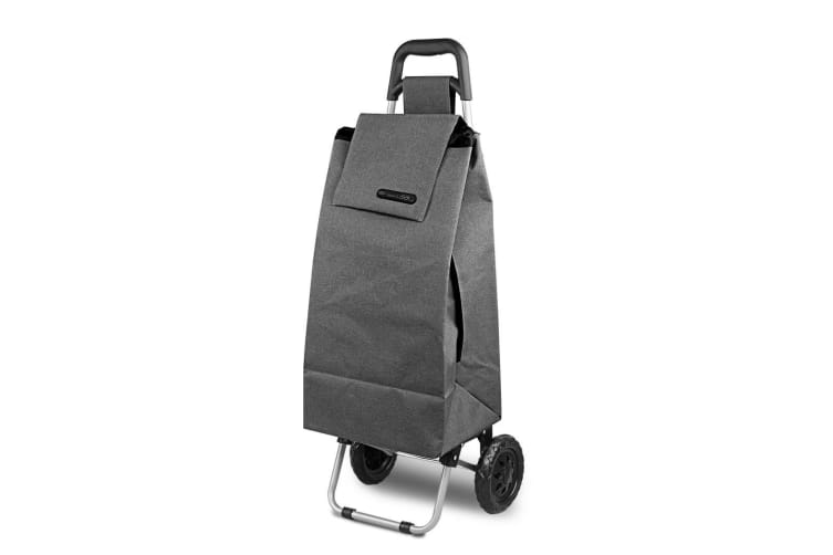 D.LINE Shopping Trolley - Charcoal Grey Rolling Wheel Fold Collapsible Cart Bag