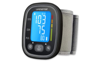 Lifesense Digital wrist blood pressure monitor with blue backlight screen