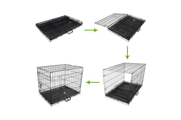 "42"" Foldable Metal Wire Dog Cage with Removable Tray"