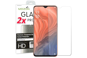 [2 Pack] OPPO Reno Z Tempered Glass 9H HD Crystal Clear Premium Screen Protector by MEZON – Case Friendly, Shock Absorption (Reno Z, 9H)