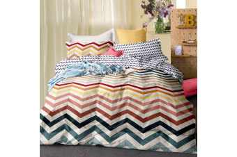Giselle Bedding Quilt Cover Set King Bed Doona Duvet Reversible Sets Wave Pattern Colourful