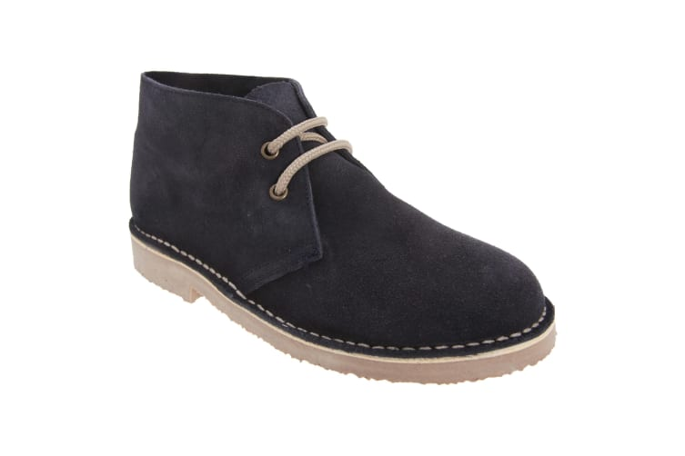 Roamers Mens Real Suede Unlined Desert Boots (Navy) (3 UK)