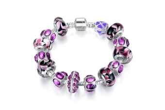 Pandora Inspired Full Set Beaded Charm Bracelet-Lavender