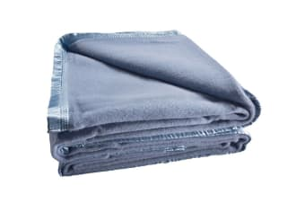 Bianca 480GSM Wool Blanket (Queen/Steel Blue)