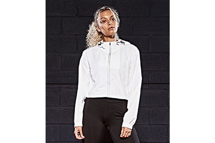 AWDis Just Cool Womens Girlie Cropped Windshield Jacket (Arctic White) (XL)