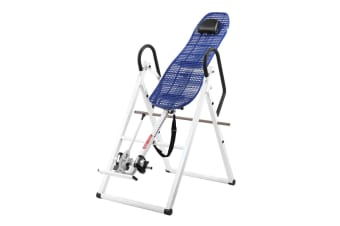 Gravity Inversion Table for Back Therapy w/ Ergonomic Curved Backrest-White