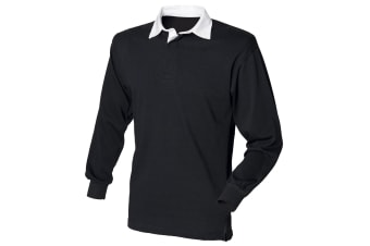Front Row Long Sleeve Classic Rugby Polo Shirt (Black/White) (L)