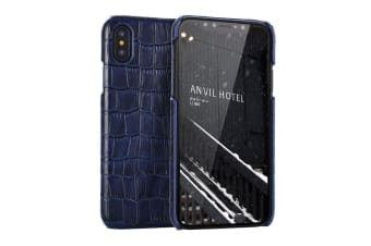 For iPhone XS MAX Cover Genuine Crocodile Leather Back Shell Phone Case Blue
