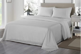 Royal Comfort 1200TC Ultrasoft Microfibre Bed Sheet Set (Queen, Silver)
