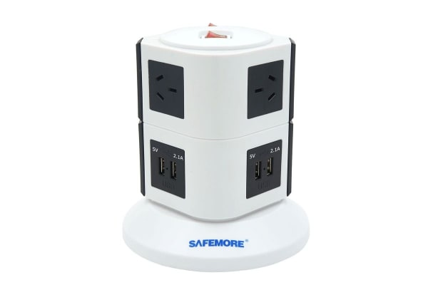 Safemore VPS Original Power Stackr 2 Level with 6 Power Outlets & 4 USB - White/Black (GL2U002-WB)