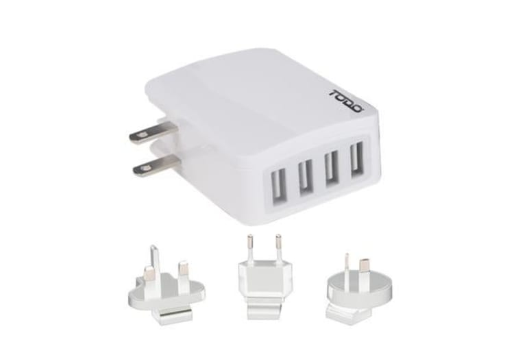 TODO 4 Port Usb 2.4a Rapid Charge Universal Travel Charger - White