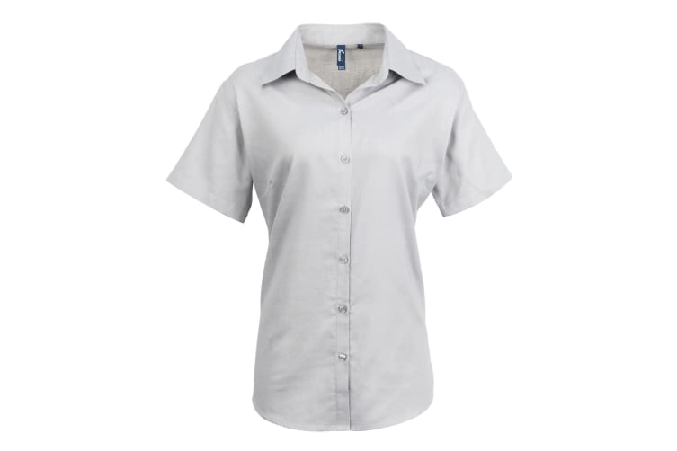 Premier Womens/Ladies Signature Oxford Short Sleeve Work Shirt (Silver) (12)