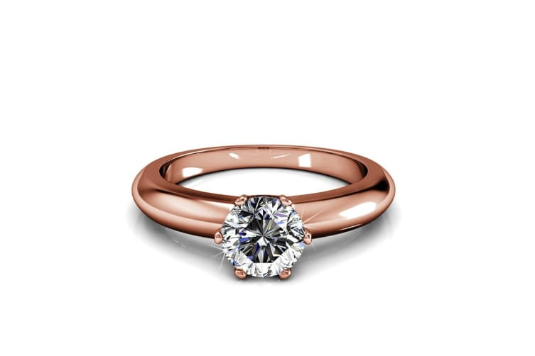 Jewel In The Palace Solitaire Ring Embellished with Swarovski crystals Size US 7