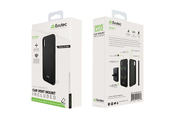 Evutec iPhone XS Max Karbon Case with BONUS AFIX+ Magnetic Car Mount - Karbon