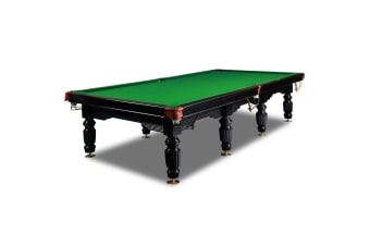 12FT Luxury Slate Pool Table Solid Timber Billiard Table Professional Snooker Game Table with Accessories Pack, Black Frame / Green Felt