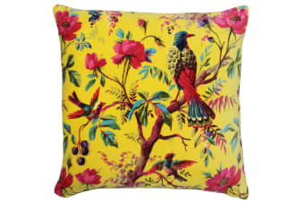 Riva Home Birds Of Paradise Floral Pattern Square Cushion Cover (Yellow/Multicoloured) (50 x 50cm)