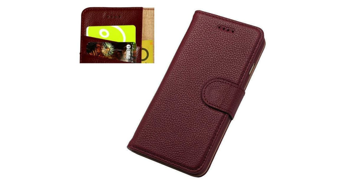 buy popular f7456 ccbb0 For iPhone 8 7 Wallet Case Fashion Cowhide Durable Genuine Leather Cover  Red | Phone Cases