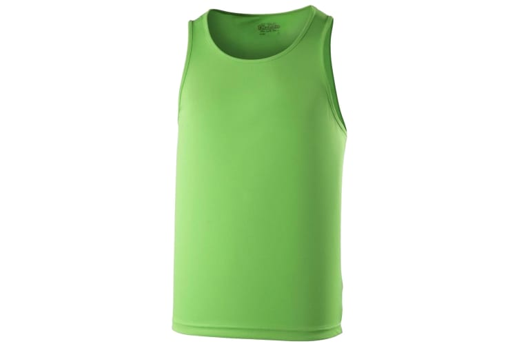 Just Cool Mens Sports Gym Plain Tank / Vest Top (Lime Green) (M)
